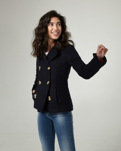 Navy woollen coat