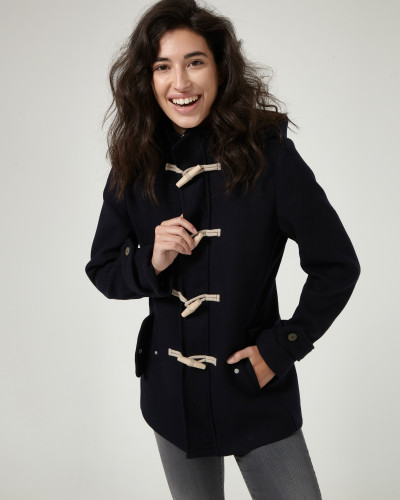 Navy woollen coat with hood