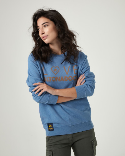 Blue sweatshirt with drawing