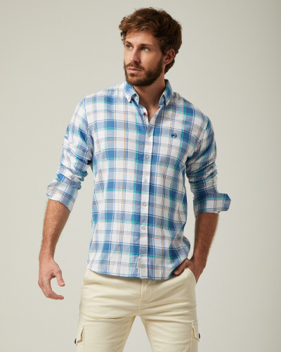 Checked shirt blue and white