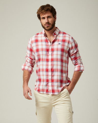 Checked shirt white and red