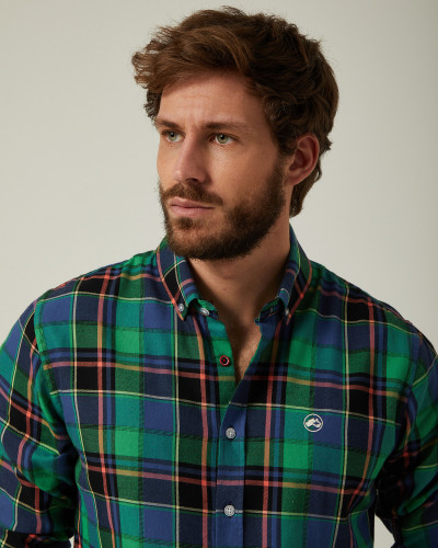 Checked shirt blue and green