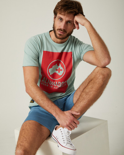 Blue T-shirt with red...