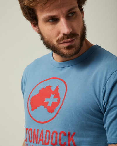 Blue T-shirt with red logo