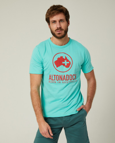 Aqua green T-shirt with red...