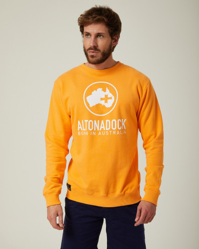 Sweatshirt orange logo blanc
