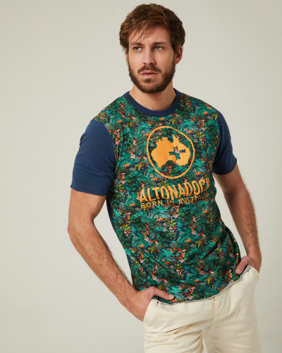 Blue t-shirt with tropical...