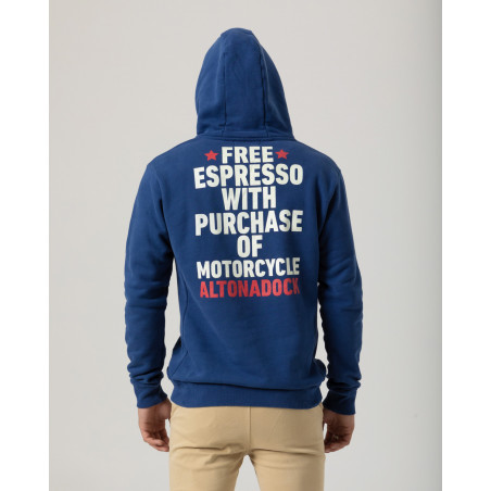 """Hoodie with front and back print """"Free espresso Altonadock""""."""