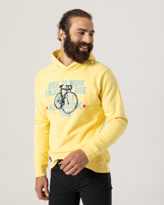 """Hooded sweatshirt with """"Bike to work"""" print on the front"""