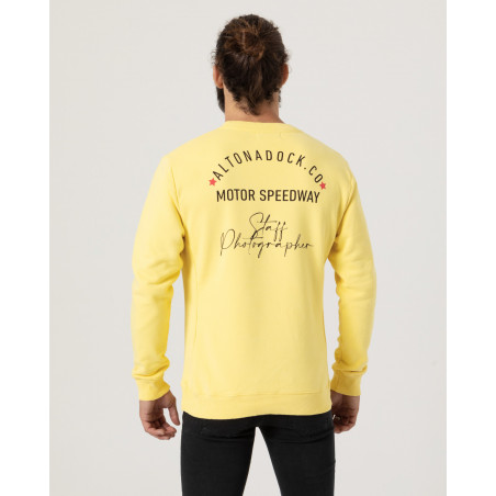 """Sweatshirt with front and back print """"Staff Photographer""""."""