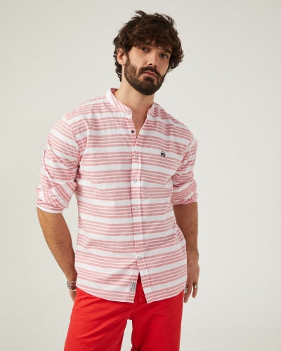 Red and white striped slim...
