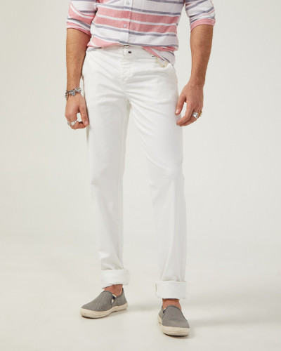 Chino homme coupe slim blanc
