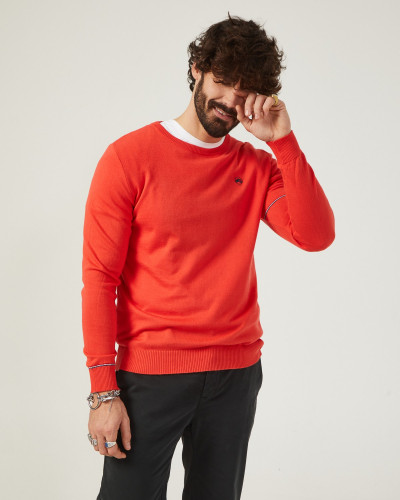 Pull homme basique rouge