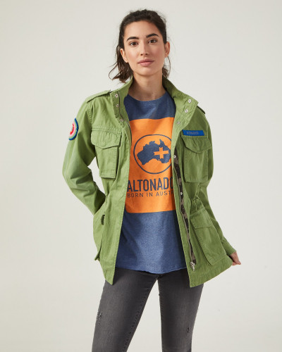 Green jacket with frontal...